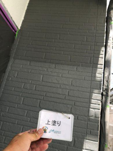 奈良生駒市N様 外壁塗装・屋根カバー工法・ベランダ防水工事・外塀塗装 外壁塗装上塗り