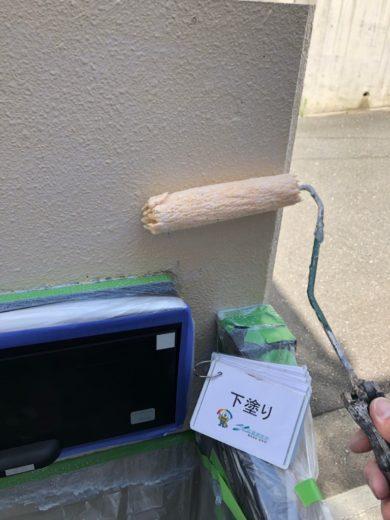 奈良生駒市N様 外壁塗装・屋根カバー工法・ベランダ防水工事・外塀塗装 外塀下塗り1回目