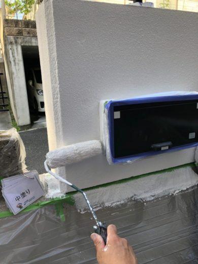 奈良生駒市N様 外壁塗装・屋根カバー工法・ベランダ防水工事・外塀塗装 外塀中塗り