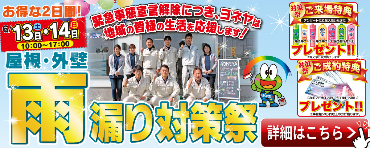 お得な2日間!屋根・外壁雨漏り対策祭 6/13(土)・14日(日) 10:00~17:00